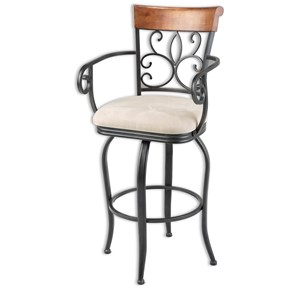 Morris Home Furnishings Metal Barstools Hartford Wood and Metal Barstool