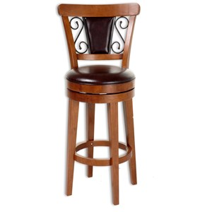 Morris Home Furnishings Metal Barstools Trenton Wood and Metal Barstool