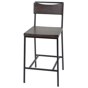 Morris Home Furnishings Metal Barstools Columbus Wood and Metal Barstool