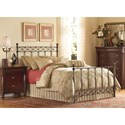 Fashion Bed Group Metal Beds King Argyle Headboard and Footboard with Round Finial Posts and Diamond Wire Metal Grill Design