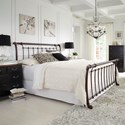 Fashion Bed Group Metal Beds Queen Legion Bed with Metal Sleigh Panels and Twisted Rope Top Rails