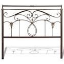 Fashion Bed Group Metal Beds Full Lucinda Bed with Intricate Metal Scrollwork and Sleighed Top Rail Panels