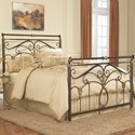 Fashion Bed Group Metal Beds King Lucinda Bed with Intricate Metal Scrollwork and Sleighed Top Rail Panels