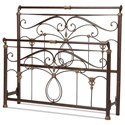 Fashion Bed Group Metal Beds California King Lucinda Bed with Intricate Metal Scrollwork and Sleighed Top Rail Panels