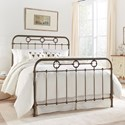 Fashion Bed Group Metal Beds Queen Madera Headboard and Footboard with Metal Panels and Brass Plated Designs