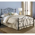 Fashion Bed Group Metal Beds California King Deland Headboard and Footboard with Curved Grill Design and Finial Posts