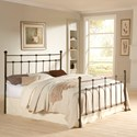 Fashion Bed Group Metal Beds King Dexter Headboard and Footboard with Decorative Metal Castings and Globe Finials