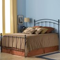 Fashion Bed Group Metal Beds King Sanford Headboard and Footboard with Metal Panels and Round Finial Posts