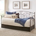 Fashion Bed Group Metal Beds Hinsdale Metal Daybed with Sloping Rails and Vertical Spindles with Antique Pewter Finish