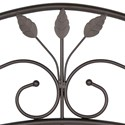 Fashion Bed Group Metal Beds Full Sycamore Bed with Arched Metal Duo Panels and Leaf Pattern Design