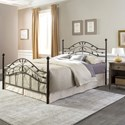 Fashion Bed Group Metal Beds King Sycamore Bed with Arched Metal Duo Panels and Leaf Pattern Design