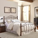 Fashion Bed Group Metal Beds Queen Cassidy Headboard and Footboard with Metal Panels and Dark Walnut Wood Posts