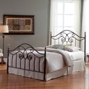 Fashion Bed Group Metal Beds Full Dynasty Bed with Arched Metal Duo Panels and Scalloped Finial Posts