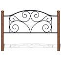 Morris Home Furnishings Metal Beds King Transitional Doral Steel and Wood Headboard