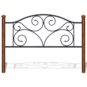 Morris Home Furnishings Metal Beds Cal King Steel and Wood Headboard