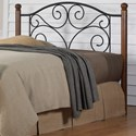Morris Home Furnishings Metal Beds California King Transitional Doral Steel and Wood Headboard