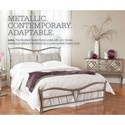 Morris Home Furnishings Snap Beds King Metal Snap Bed with Brushed Pewter Finish and Upholstered Pillows