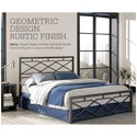 Morris Home Furnishings Snap Beds Contemporary Queen Metal Snap Bed with Geometric Design