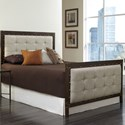 Fashion Bed Group Upholstered Headboards and Beds California King Gotham Headboard and Footboard with Dark Latte Upholstered Metal Panels and Antique Industrial Studs