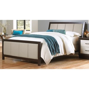 Morris Home Furnishings Upholstered Headboards and Beds Cal King Wood & Fabric Ornamental Bed