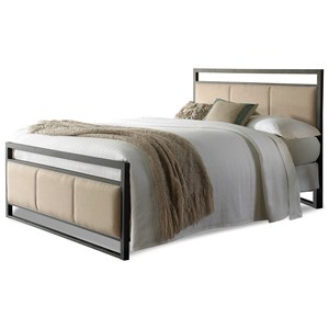 Morris Home Furnishings Upholstered Headboards and Beds Queen Metal and Fabric Ornamental Bed