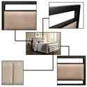Fashion Bed Group Upholstered Headboards and Beds Queen Transitional Metal and Fabric Ornamental Bed