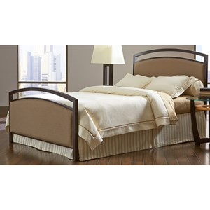 Fashion Bed Group Upholstered Headboards and Beds Cal King Metal and Fabric Ornamental Bed