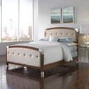 Fashion Bed Group Upholstered Headboards and Beds Queen Wood and Fabric and Metal Ornamental Bed