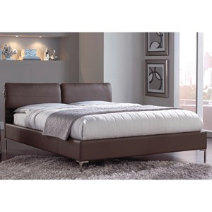 Fashion Bed Group Upholstered Headboards and Beds Queen Metal & Fabric Ornamental Bed