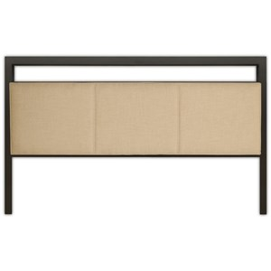 Fashion Bed Group Upholstered Headboards and Beds Cal King Metal and Fabric Headboard