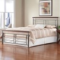 Fashion Bed Group Wood and Metal Beds King Fontane Bed with Metal Geometric Panels and Rounded Cherry Top Rails