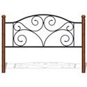 Fashion Bed Group Wood and Metal Beds Queen Doral Headboard and Footboard with Metal Panels and Dark Walnut Wood Posts