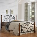 Fashion Bed Group Wood and Metal Beds King Doral Headboard and Footboard with Metal Panels and Dark Walnut Wood Posts