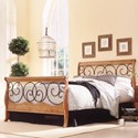 Fashion Bed Group Wood and Metal Beds California King Dunhill Headboard and Footboard with Wood Sleigh Style Frame