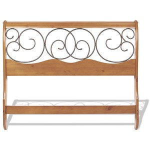 Fashion Bed Group Wood Beds Cal King Wood and Metal Headboard