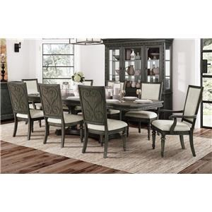 Dining Table, 4 Side Chairs & 2 Arm Chairs