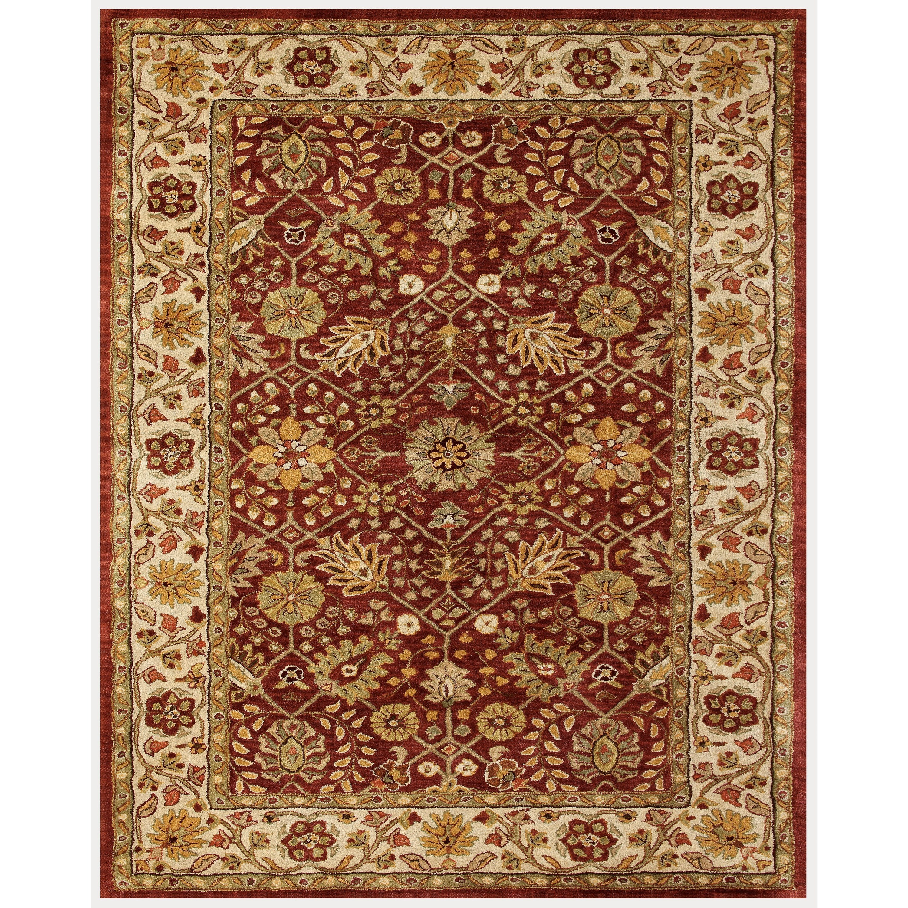Cranberry/Ivory 8' X 11' Area Rug
