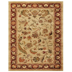 "Ivory/Red 3'-6"" x 5'-6"" Area Rug"