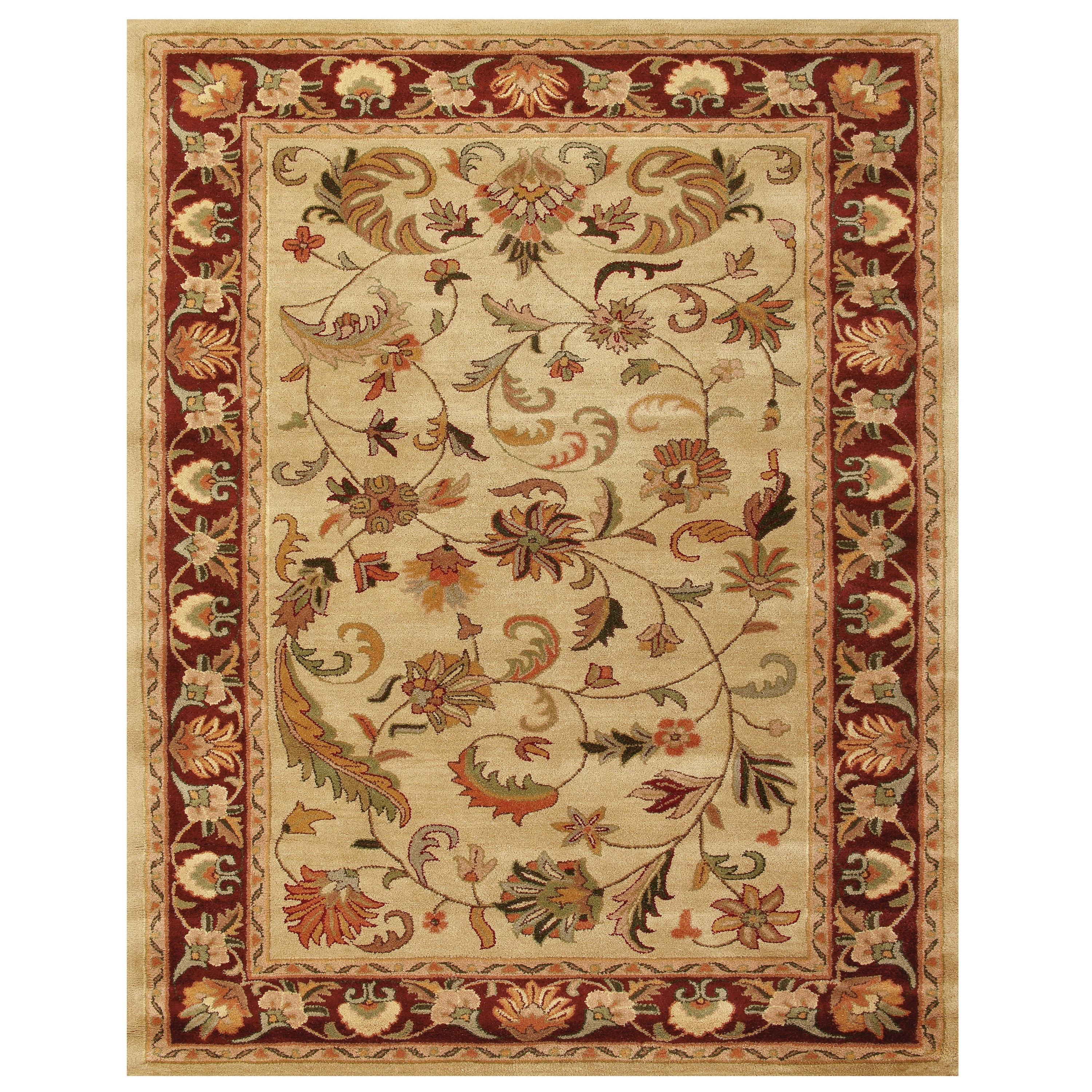 Ivory/Red 5' x 8' Area Rug