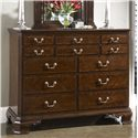 Fine Furniture Design American Cherry Portsmouth Entertianment Dressing Chest & Quincy Vertical Mirror Combination - Nine Drawers, Two Felt-Lined Jewelry Trays, and One Drop Down Drawer with Removable Partitions