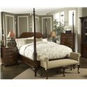 Fine Furniture Design American Cherry Bedroom Bench with Rolled Arms - Shown with Queen Bridgeport Pencil Post, Richmond Bedside Table, and Chesapeake Tall Chest