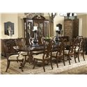 Belfort Signature Belmont Andover Breakfront China Cabinet with Mirrored Back Panel - Shown with Fredericksburg Dining Table