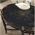 Belfort Signature Belmont New London Chinoiserie Cocktail Table with Black and Gold Chinoiserie Painted Top - Angled View of Table Top