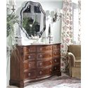 Belfort Signature Westview Decoratively Shaped Hanging Wall Mirror - Shown in Room Setting Triple Dresser
