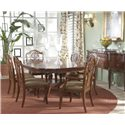 Fine Furniture Design Antebellum Dining Table with Elegantly Crafted Pedestal - Room View of Table with Leaf Extension, Splat Back Side and Arm Chairs and Sideboard