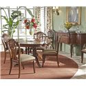 Fine Furniture Design Antebellum Dining Table with Elegantly Crafted Pedestal - Room View of Table without Leaf, Splat Back Side Chairs and Sideboard
