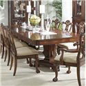 Belfort Signature Westview Dining Table with Decorative Double Pedestals - Table with Leaf Extensions