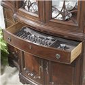 Belfort Signature Westview Traditional China Buffet & Hutch with Glass Doors and Shelves - Felt-Lined Silverware Tray