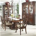 Belfort Signature Westview Traditional China Buffet & Hutch with Glass Doors and Shelves - Shown in Room Setting with Ball & Claw Arm Chairs and Side Chairs, Double Pedestal Dining Table & Display Cabinet