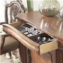 Belfort Signature Westview Traditional Dining Room Buffet - Top Left Drawer with Silver Tray and Felt Liner